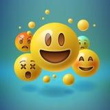 Смайлики Smiley, emoji, социальная концепция средств массовой информации Стоковое Изображение RF