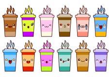 Смайликов стороны kawaii характеров значка кофейных чашек вектор дизайна установленных плоский Стоковые Изображения