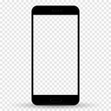 Смартфон в цвете стиля iphone черном с пустым экраном касания изолированным на прозрачной предпосылке r иллюстрация вектора