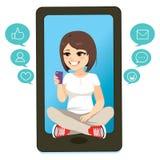 Смартфон девушки подростка иллюстрация штока