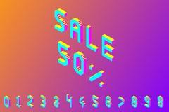 Смелые красочные равновеликие номера пиксела 3d иллюстрация штока