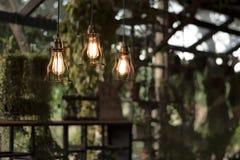 Смертная казнь через повешение красивой электрической лампочки раскаленная добела украсила внутреннее roo стоковое фото rf