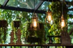 Смертная казнь через повешение красивой электрической лампочки раскаленная добела украсила внутреннее roo стоковая фотография