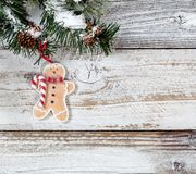 Смертная казнь через повешение орнамента печенья рождества от снежных грубых отрубей ели Стоковое фото RF