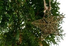 Смертная казнь через повешение украшения рождества формы звезды на рождественской елке Стоковые Изображения