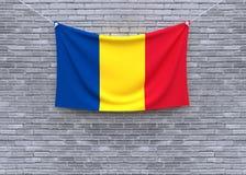 Смертная казнь через повешение флага Румынии на кирпичной стене стоковые фото
