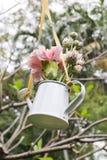 Смертная казнь через повешение цветков и моча чонсервная банка украшают в саде Стоковое Изображение