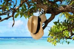 Смертная казнь через повешение шляпы лета на тропическом пляже Стоковое Изображение