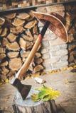 Смертная казнь через повешение шляпы на оси ручки, которая выступы вне в пень Стоковые Фото