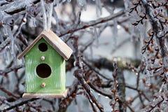 Смертная казнь через повешение Birdhouse на льде покрыла ветви дерева Стоковое фото RF