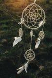 Смертная казнь через повешение Dreamcatcher от дерева в поле на sunsetd Стоковая Фотография