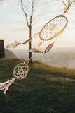 Смертная казнь через повешение Dreamdcatcher от дерева в поле на заходе солнца Стоковое фото RF