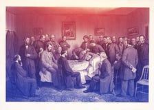 Смерть Линкольна, выгравированной иллюстрации иллюстрация штока