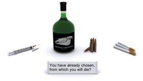 смерть причины спирта дает наркотики табаку пушек иллюстрация вектора