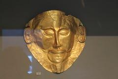 Смерт-маска золота в музее Афин Arheological Стоковые Фотографии RF