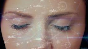 Смесь цифров глаза женщины смотря технологию blockchain иллюстрация штока