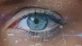 Смесь цифров глаза женщины смотря технологию blockchain иллюстрация вектора