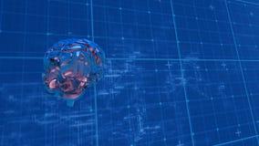 Смесь цифров человеческого мозга и светокопии кибер иллюстрация штока