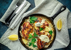 Сметанообразные supremes fellets цыпленка в соусе гриба с петрушкой в деревенском skillet литого железа Стоковые Изображения RF