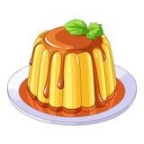 Сметанообразный десерт флана карамельки также вектор иллюстрации притяжки corel бесплатная иллюстрация
