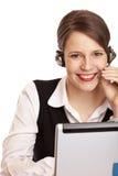 смех шлемофона звонока счастливый делает женщину стоковая фотография