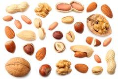 смешайте миндалины, гайки анакардии, фундук, арахисы, грецкие орехи, фисташку изолированную на белой предпосылке Взгляд сверху стоковая фотография