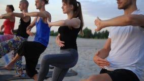 Смешанная группа лицо одной расы людей работая ратника фитнеса образа жизни йоги здорового представляет видеоматериал