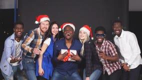 Смешанная группа лицо одной расы друзей на рождественской вечеринке, усмехаясь и смотря в камере, замедленном движении акции видеоматериалы