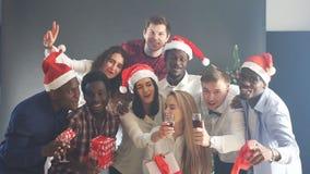Смешанная группа лицо одной расы друзей на рождественской вечеринке, усмехаясь и смотря в камере, замедленном движении сток-видео