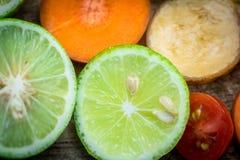 Смешанная морковь банана томата лимона плодоовощ Стоковые Изображения