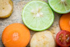 Смешанная морковь банана томата лимона плодоовощ Стоковое Изображение