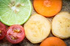 Смешанная морковь банана томата лимона плодоовощ Стоковое Изображение RF