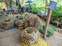 Смешанные виды птиц, еда Лаоса и рынок в реальном маштабе времени поголовья стоковое фото