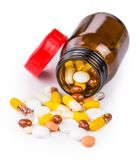 Смешанные лекарства изолированные на белой предпосылке Стоковые Фотографии RF