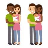 Смешанные пары с младенцем иллюстрация штока