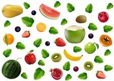 Смешанные свежие фрукты, клубника, киви, арбуз, апельсин, ягода бесплатная иллюстрация