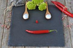 Смешанные специи и Condiments на камне, шифере и деревянной предпосылке Горячие перцы и цветная капуста Стоковые Изображения RF