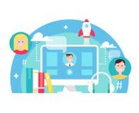 Смешанные учить и иллюстрация концепции образования обучения по Интернетуу вектор техника eps конструкции 10 предпосылок иллюстрация штока