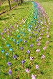 Смешанные pinwheels цвета в ветре на лужайке травы стоковые изображения rf