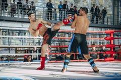 Смешанный боец боевых искусств в кольце пинок к его оппоненту Стоковое фото RF