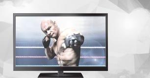 смешанный боец боевых искусств на телевидении Стоковое Изображение RF
