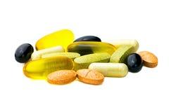Смешанный конец-вверх пилюлек дополнения еды, omega3, carotine, витамины Стоковое фото RF