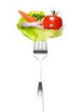 Смешанный салат на вилке Стоковые Изображения RF