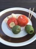 Смешивайте tricolore детали еды Стоковое фото RF