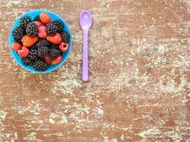Смешивание вкусных ягод на поддоннике стоковое фото rf