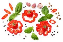 смешивание куска томата, лист базилика, чеснока, сладостного болгарского перца и специй изолированных на белой предпосылке Взгляд Стоковая Фотография RF