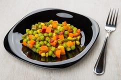 Смешивание моркови, зеленых фасолей, зеленых горохов, перца, мозоли Стоковое Изображение RF