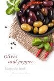 Смешивание оливок и перца chili Стоковое фото RF