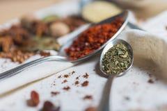 Смешивание различных специй и трав, кашевар и ингридиенты кухни на таблице с оформлением лист и плодоовощ залива Стоковое Изображение RF