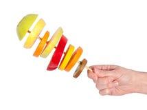 смешивание руки плодоовощ стоковая фотография rf
